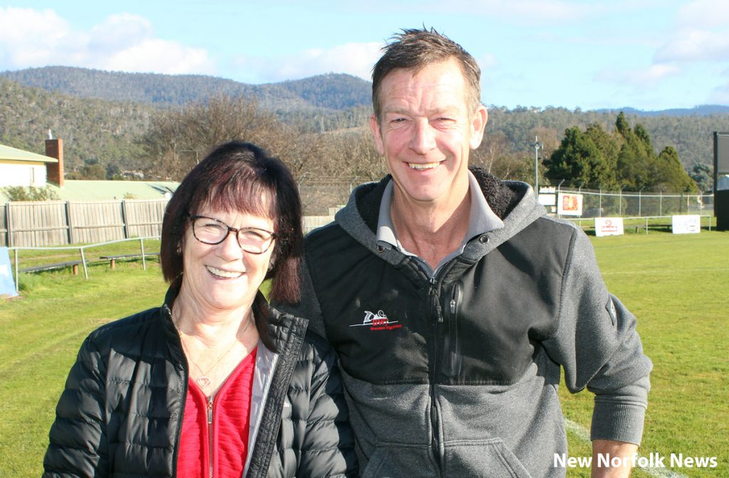 Sally Coleman and Brendan Wigg at Boyer Oval in New Norfolk
