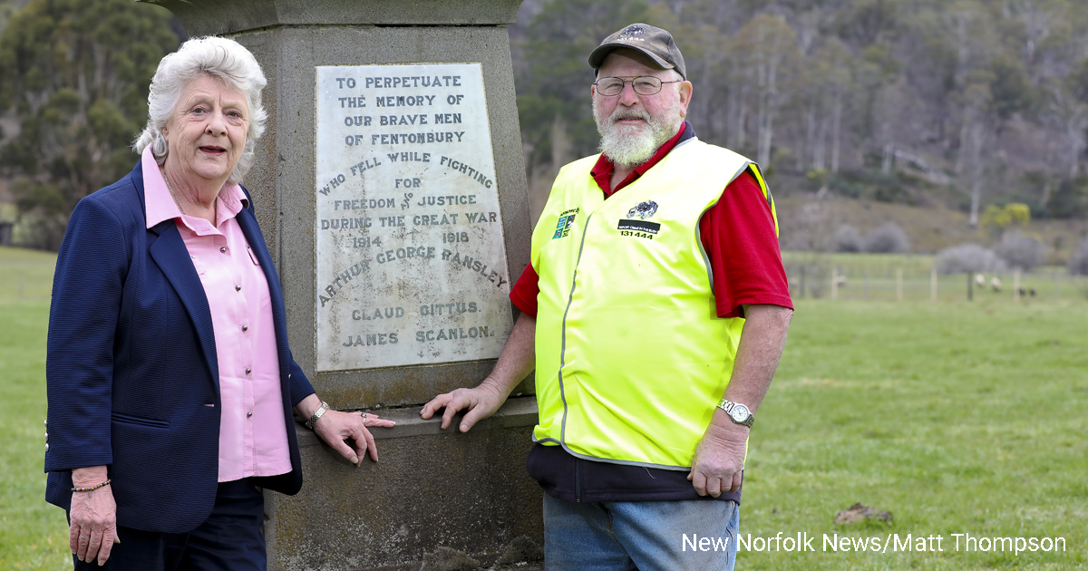 Loueen Triffitt and Stefan Frazic at the Fentonbury war memorial