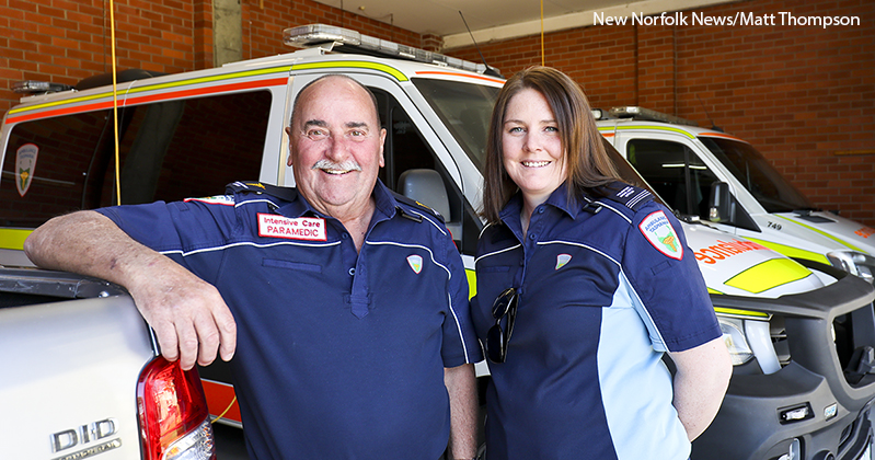 Paramedic Bryce Duggan and ambulance volunteer Kerryn Bone