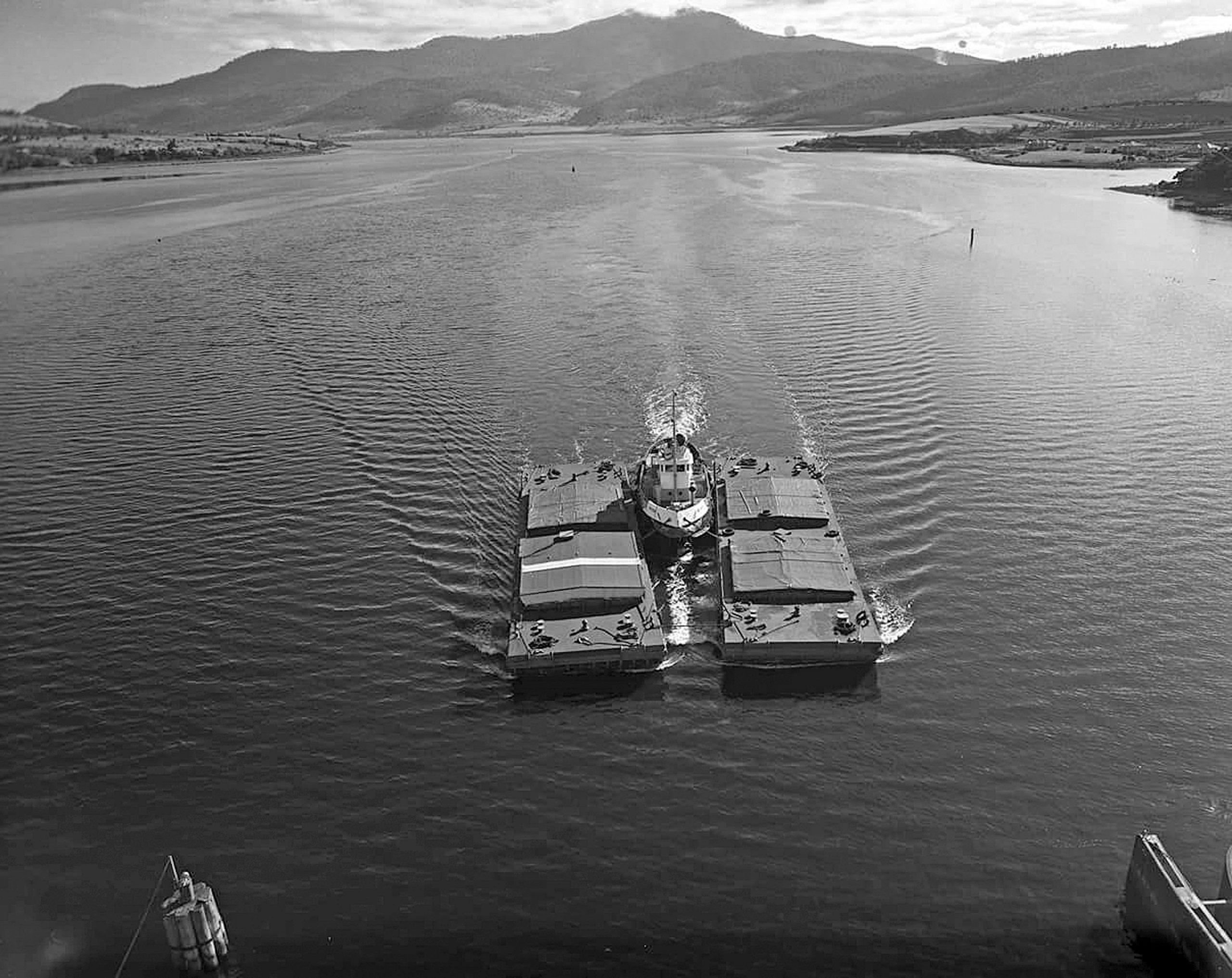 Barges or lighters on River Derwent in Tasmania