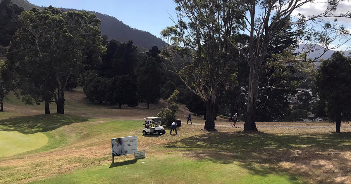 golf being played at New Norfolk, Tasmania