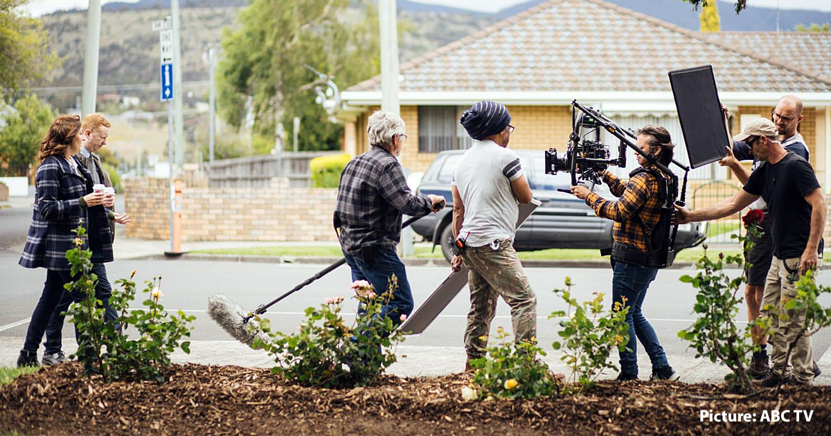on-location filming of a television program